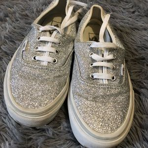 6ad75600cd47 Glitter silver sparkly vans